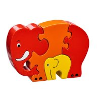 Mother & Baby Elephant Red Jigsaw