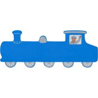 Blue Train Wooden Name Plaque (long)