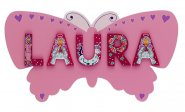 Butterfly Name Plaque Pink