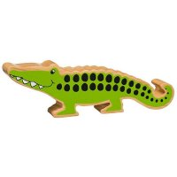 Natural Wood Colourful Crocodile