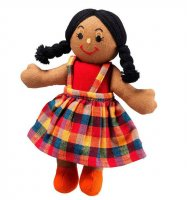 Girl Rag Doll - brown skin black hair