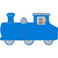 Blue Train Wooden Name Plaque (small)