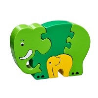 Mother & Baby Elephant Green Jigsaw