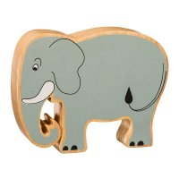 Natural Wood Colourful Elephant